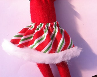 Christmas Shelf Clothes Green Red and White Candy Cane Stripe Skirt for 12 inch ELF PIXIE Fur on Hem NEW