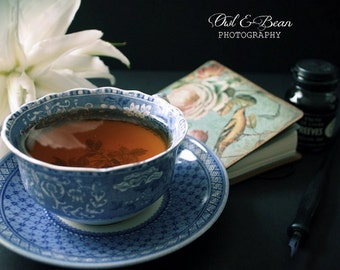 Cup of Tea and Notebook, Greeting Card, Blank Inside, Fine Art Photography, Home Decor