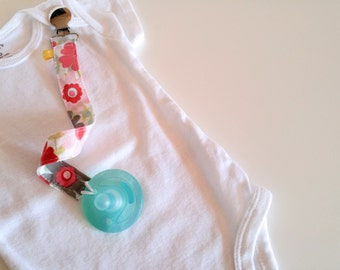 Pacifier Clip, Bib Clip, Pacifier Strap, Utility Clip, Toy Clip, Toy Strap, Red and Gray Floral