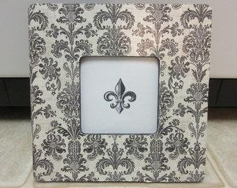Wood Picture Frames-Damask Fleur De Lis Picture Frame
