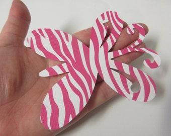 "8 LARGE 4 1/4"" x 3 5/8"" Pink Zebra Butterfly Die Cuts"