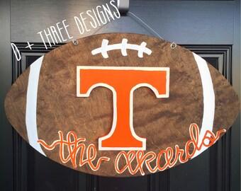 UT Vols Orange & White Tennessee Vols Football Wooden Door Hanger // Go Big Orange Door Decor // University of Tennessee Wreath