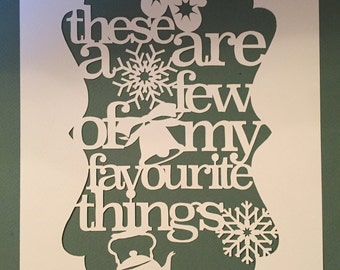 DIY Paper Cutting Template - My Favourite Things (Sound Of Music) - A4 PDF Download with Instructions. Cut it Yourself!