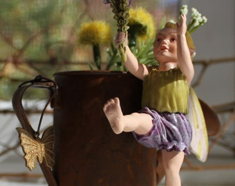 Fairy~ Heather Fairy with Rusted Watering Can by Olive ~ Fairy Garden, Fairy, Fae, Faery