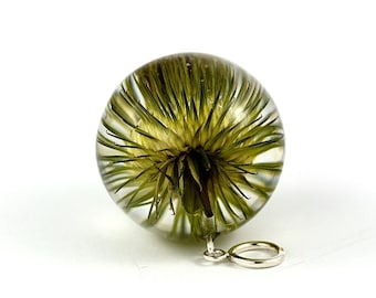 Burdock Pendant, Green Resin Pendant, Real Burdock Resin Pendant, Green Silver Pendant, Real Plants Jewelry, Sphere 3.4 cm. Witchout chain.