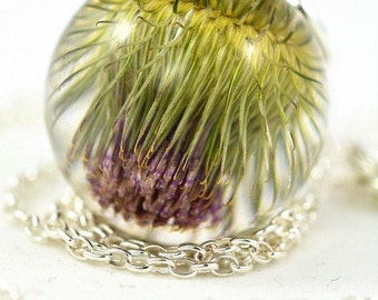 Real Burdock Pendant, Green Burdock Necklace, Thistle Jewelry, Resin Flower Pendant, Silver Pendant, Sphere 2.5 cm, Chain 45 cm