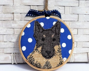 German Shepherd mini hoop applique and free motion embroidery