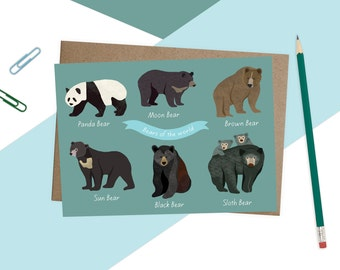 Illustrated Types of Bears Card, Cute Bears Print, Bears Illustration, Bears Drawing, Bears of the world, Any Occassion Card, Quirky Bears