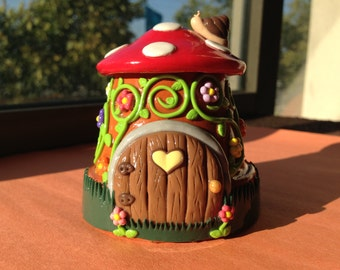 Fairy Garden House or Gnome Home- Polymer Clay -Terrarium Accessory-Miniature Garden