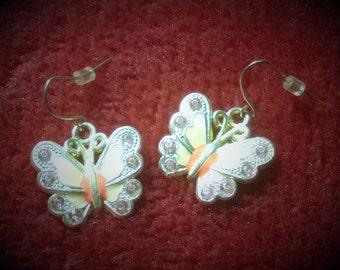 Pink Butterfly Dangly Earrings.