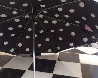 White Polka Dot Black Umbrella