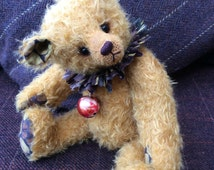 Goldie - Beautiful golden fuzzy mohair bear with Batik paws ears and collar