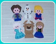 Felt Frozen Winter Princess Finger Puppets Set of 6 Celebration Birthday Party Favor Gift Quiet Play