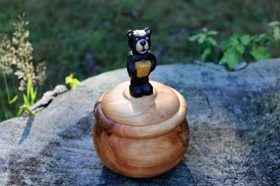 Lidded Wood Bowl, Turned Silver Maple Box, Hand Carved Basswood Black Bear - Holding Honey Pot Handle, Hand Turned Wooden Bowl with Lid