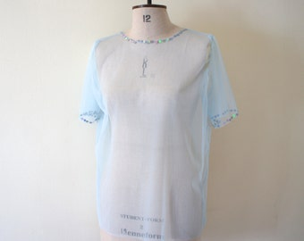 Baby Blue Net Oversized Top with Sequins