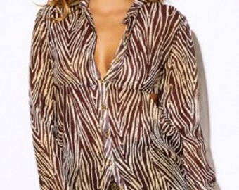 Coco brown Animal Print Sheer Blouse.  SALE!