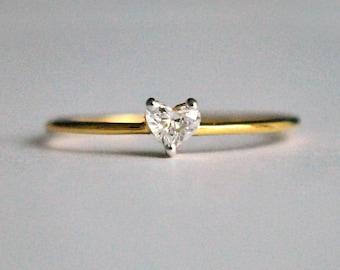 Heart Diamond Ring. Diamond Engagement Ring, Diamond Heart Ring. 14k Solid Gold Engagement Ring. Dainty Stackable Wedding