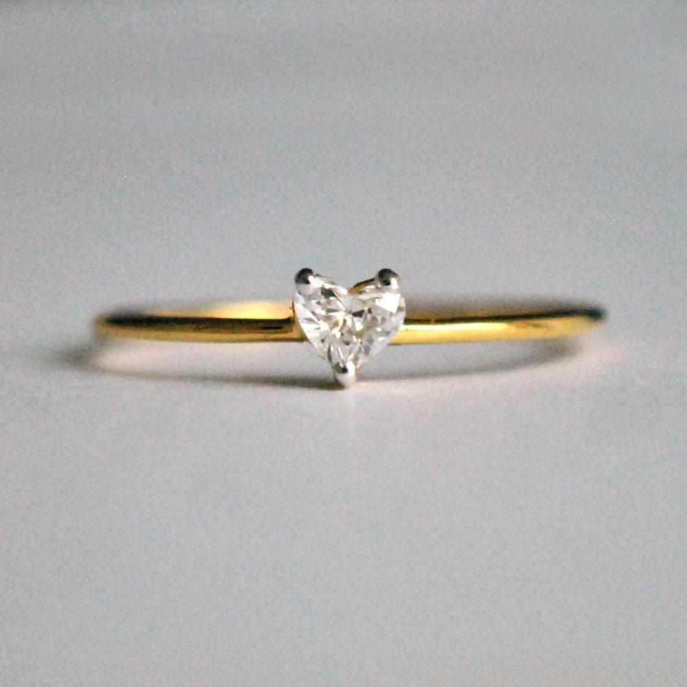 tiny diamond ring dainty wedding bands Heart Diamond Ring Diamond Engagement Ring Diamond Heart Ring 14k Solid Gold Engagement Ring Dainty Stackable Wedding