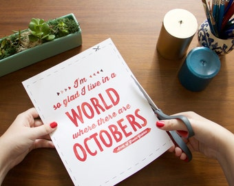 "A World Where There Are Octobers Watercolor Printable - 8""x10"" - INSTANT DOWNLOAD"