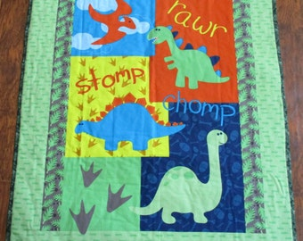 "Boys Cute Dinosaur Panel 36""Wx44""L Baby Crib Toddler Quilt Blanket Bedding Stroller Napping blanket *Perfect Gift"