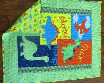 Dinosaur Panel Quilt Etsy