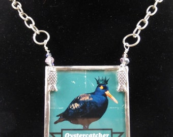 Oystercatcher silver solder altered art necklace from artists own photo