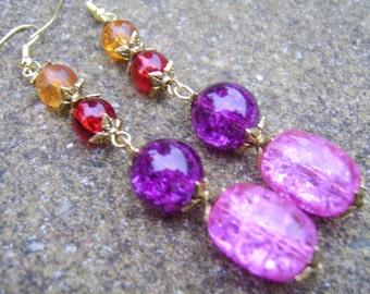 Glass Beaded Earrings. Bold Coloured Earrings. Boho Style Earrings. Long Earrings. Drop Earrings. Gift For Her. Pink , Purple,Red Orange.