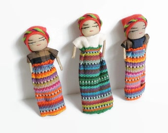 Worry Dolls, set of 5, trouble dolls, kids gift idea, fabric dolls, mini worry dolls, Guatemala worry doll