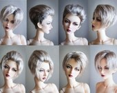 Short hairstyle wig with long top from angora goat mohair
