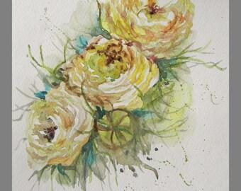 "Original, Water color Painting, Yellow Ranunculus flower, 8""x10"", 160396"