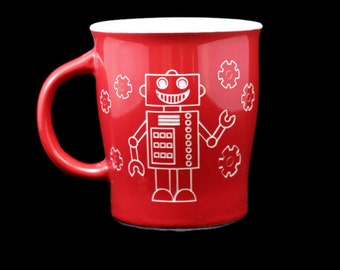 Engraved Coffee Mug, Robot Coffee Mug, Robot, Geek Coffee Mug, Etched Robot Coffee Mug, Nerd Coffee Mug