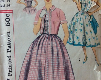 CLEARANCE!!  Simplicity 2448 misses dress and jacket size 14 bust 34 vintage 1950's sewing pattern