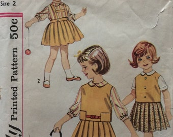 Simplicity 4064 vintage 1960's girls pleated skirt, blouse and tops sewing pattern size 2
