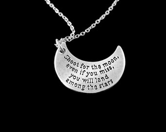 Shoot for the moon charm necklace  land amoung the stars best jewerly gift