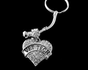 Vet tech keychain Vet tech gift Vet gift Vet tech key chain  vetranarian keychain Humane society keychain best jewelry gift