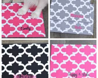 Personalized Dog Bowl Placemat || Personalized Puppy Dig Gift || Quatrefoil Feeding Station by Three Spoiled Dogs