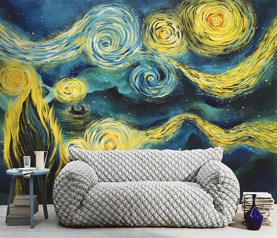 Items Similar To Starry Night Wallpaper Moon River Wall Mural Bedroom  Magical Boat Silhouette Purple Dream Night Wall Decal Art Vincent Van Gogh  55.5 Part 24