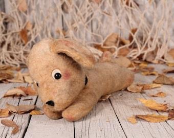 Dog Toy, Vintage Dog, Plush Dog Toy, Plush Dog, Vintage Puppy Dog, Kids Toy Dog, Beige Stuffed Straw Dog,  Nursery Decor, Christmas Gift