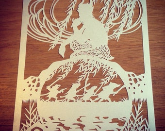 Wind in the Willows - hand cut paper cut