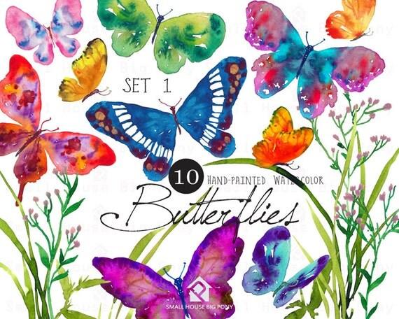 Digital Clipart- Watercolor Butterflies Clipart, Butterfly Clip art, wedding DIY clip art- Butterflies Set1