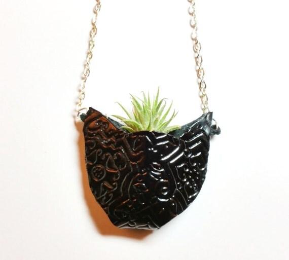 black cat live plant necklace air plant necklace miniature