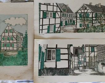 Three Vintage Werner Brattig Prints