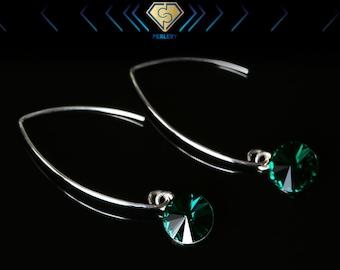 Swarovski Dangle Earings, Emerald Green Earrings, Silver Dangle Earrings, Swarovski Crystal Earrings, Green Drop Earrings.