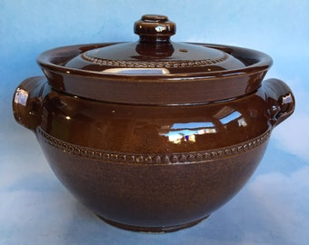 "6"" Pearson Pottery Made in England Earthenware Crockpot Bean Pot Covered Casserole"