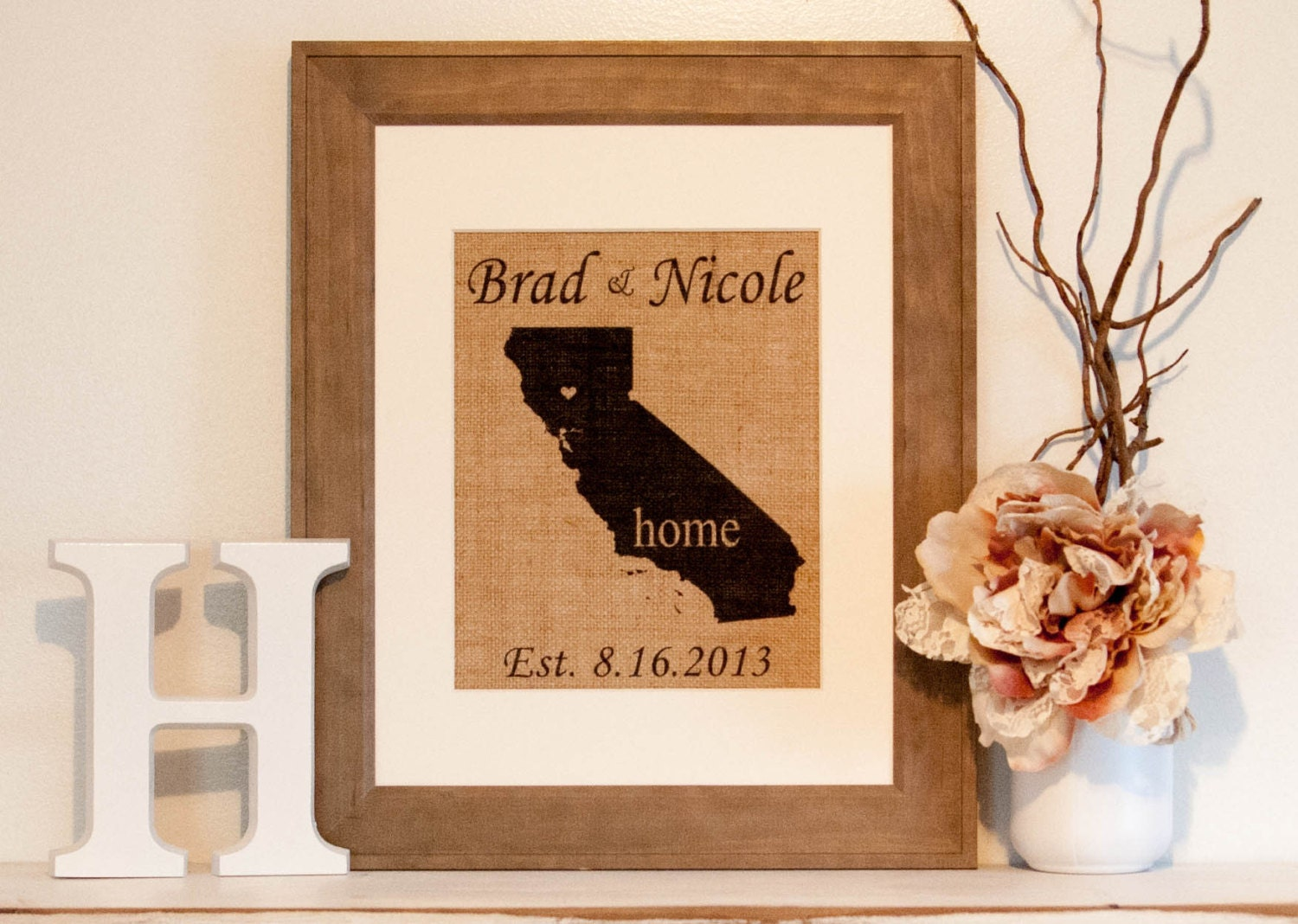 Personalized Burlap Print State Wall Decor State Home Decor