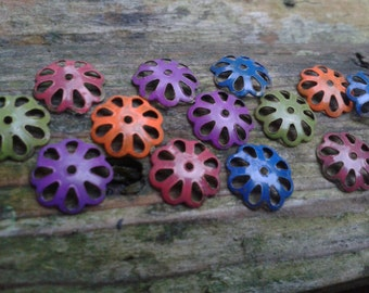 Brass Daisy flower bead caps Boho Chic Colour washed patina  UK Seller UKshop