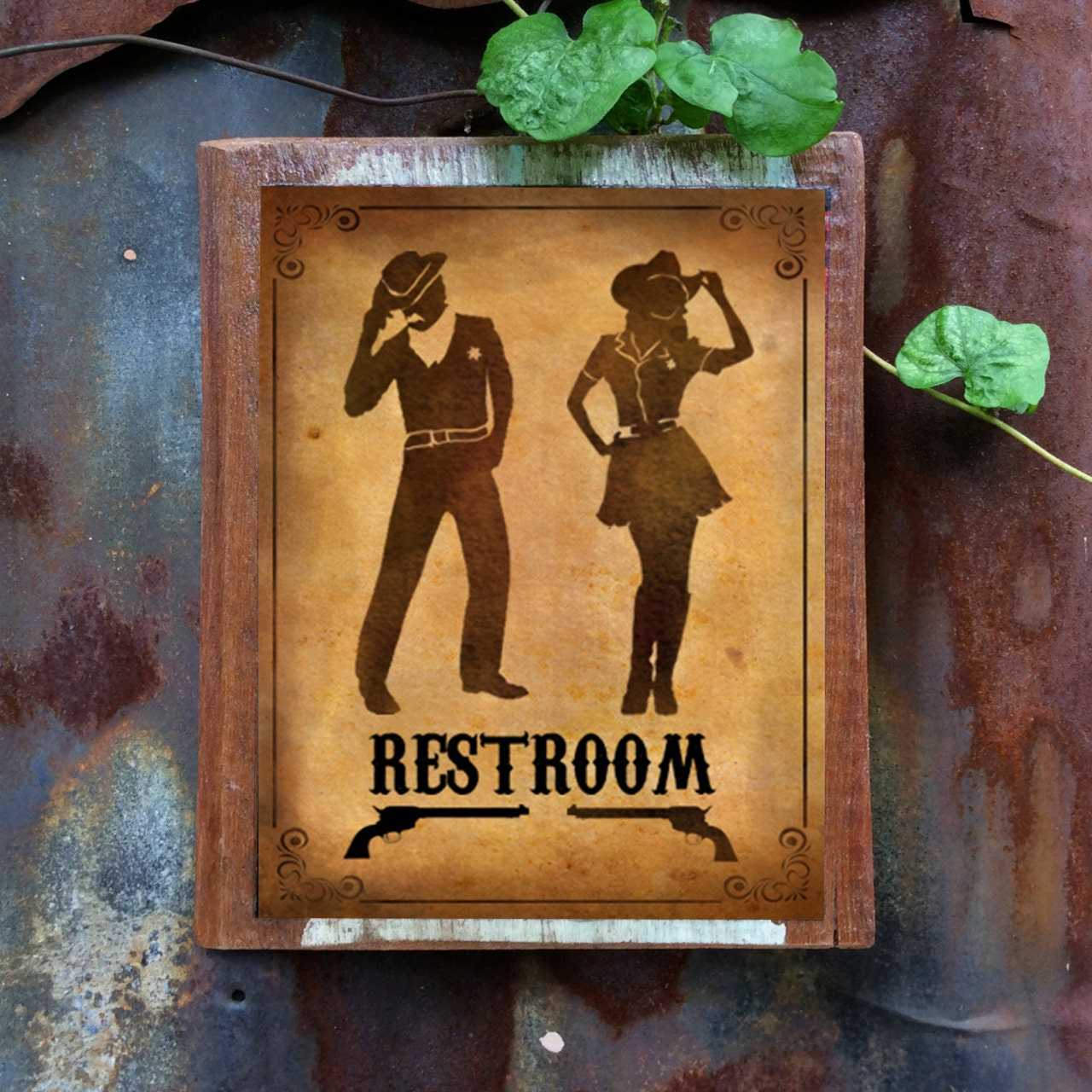 Restroom Sign Wood Sign Door Sign Funny Sign Decor