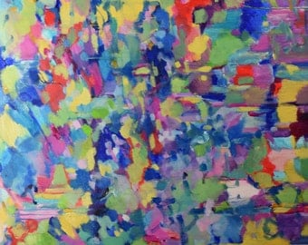 Large gorgeous abstract oil painting on 30x40 canvas, expressionist, brilliant, bright blues, crimson, fuchsia, yellow, green, free shipping