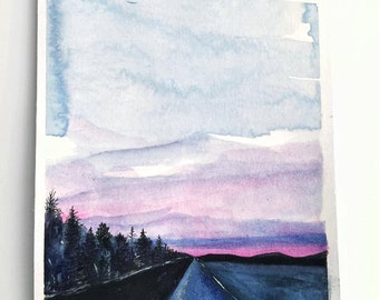 "Highway of Diamonds   -  9""x6"" Original Mixed Media Watercolor Painting"
