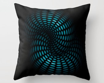 DECORATIVE THROW PILLOW cover, modern pillow case, unique cyan sci-fi cushion cover, abstract throw pillow case, black blue cushion